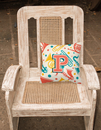 Letter P Retro Teal Orange Musical Instruments Initial Canvas Fabric Decorative Pillow CJ2001-PPW1414