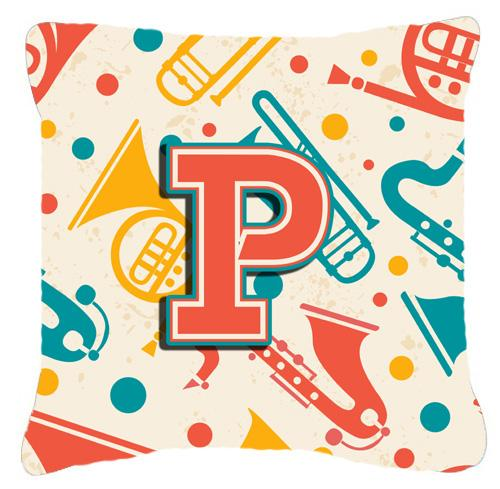 Buy this Letter P Retro Teal Orange Musical Instruments Initial Canvas Fabric Decorative Pillow