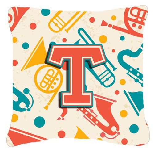 Buy this Letter T Retro Teal Orange Musical Instruments Initial Canvas Fabric Decorative Pillow