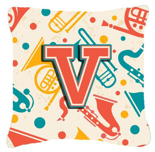 Letter V Retro Teal Orange Musical Instruments Initial Canvas Fabric Decorative Pillow by Caroline's Treasures