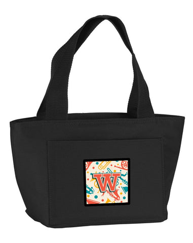 Buy this Letter W Retro Teal Orange Musical Instruments Initial Lunch Bag CJ2001-WBK-8808