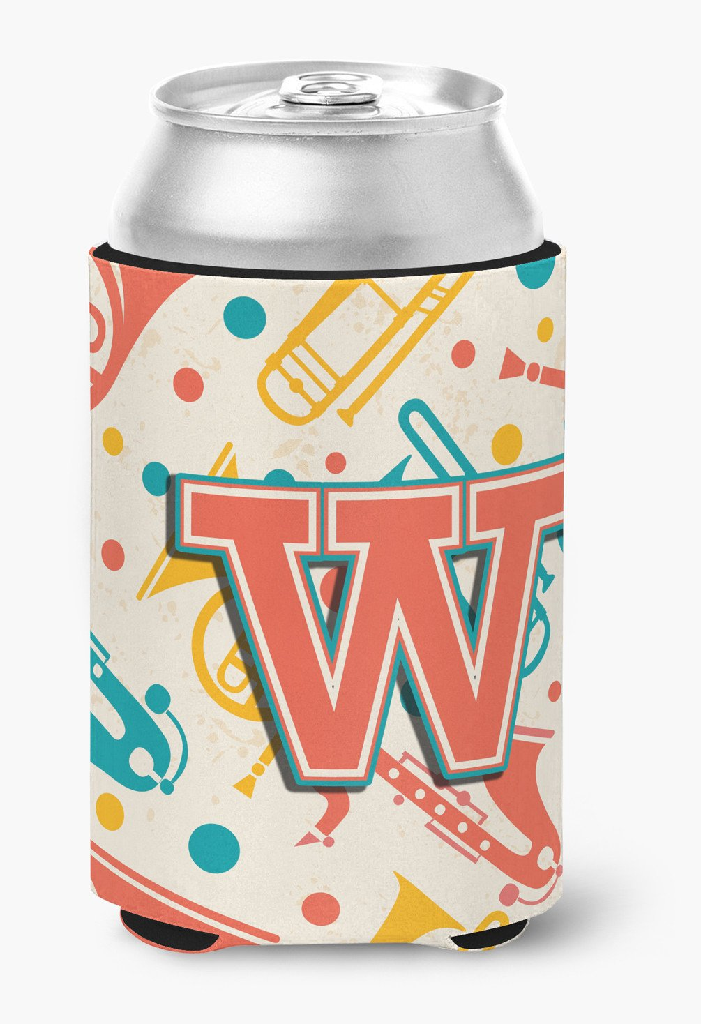 Buy this Letter W Retro Teal Orange Musical Instruments Initial Can or Bottle Hugger CJ2001-WCC