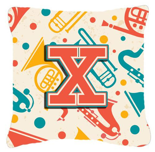 Buy this Letter X Retro Teal Orange Musical Instruments Initial Canvas Fabric Decorative Pillow