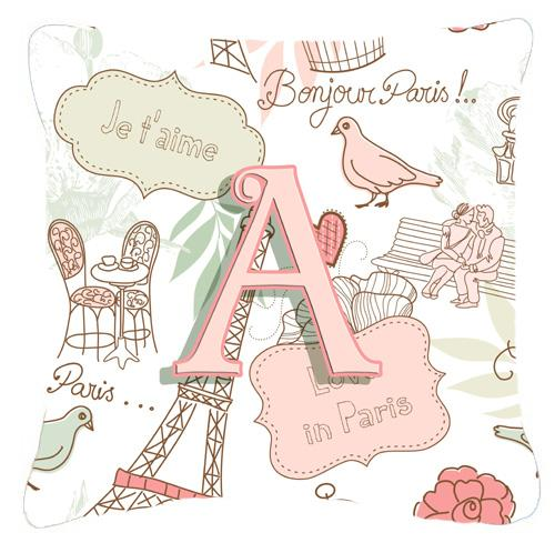 Buy this Letter A Love in Paris Pink Canvas Fabric Decorative Pillow