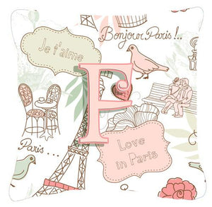 Buy this Letter F Love in Paris Pink Canvas Fabric Decorative Pillow