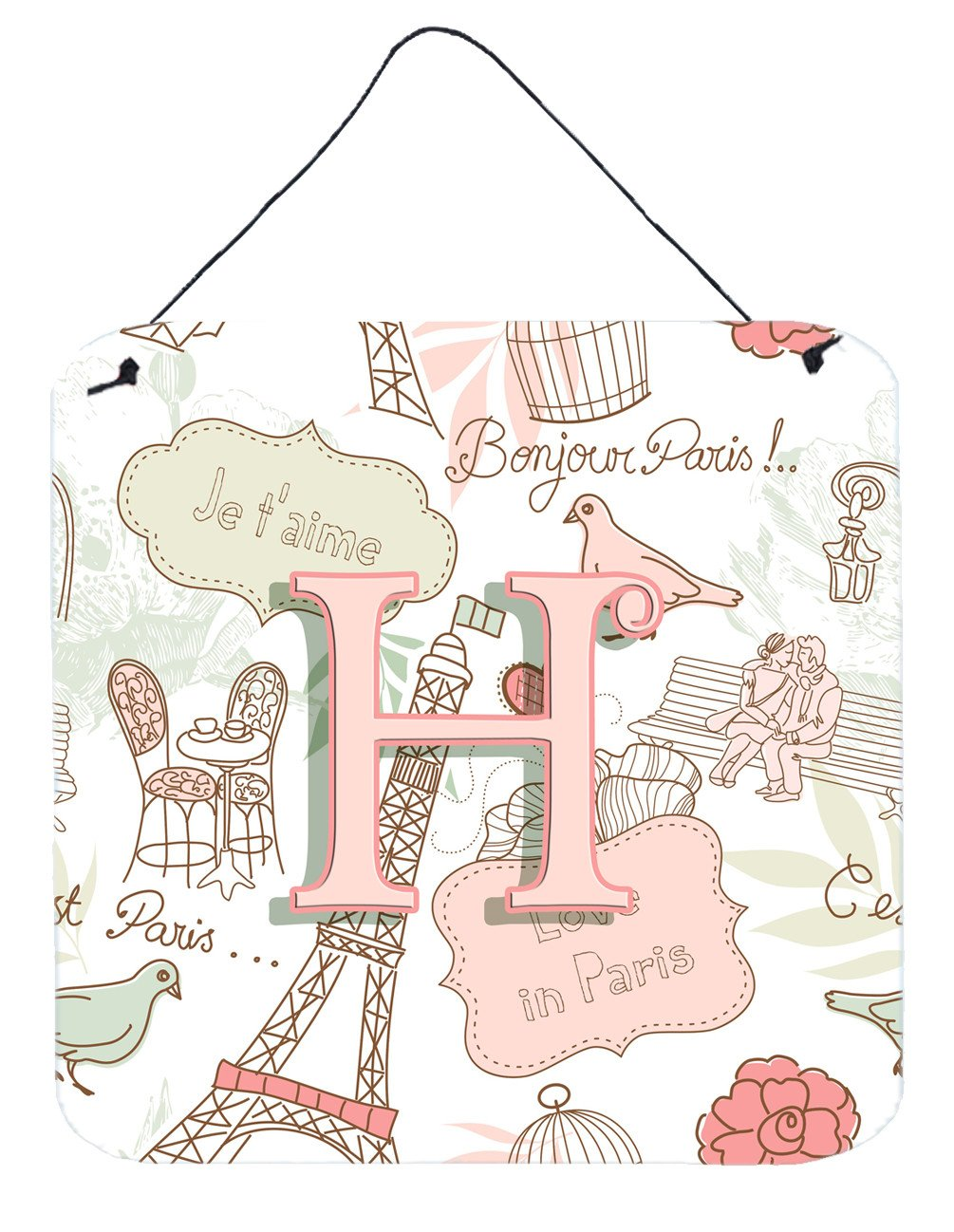 Letter H Love in Paris Pink Wall or Door Hanging Prints CJ2002-HDS66 by Caroline's Treasures