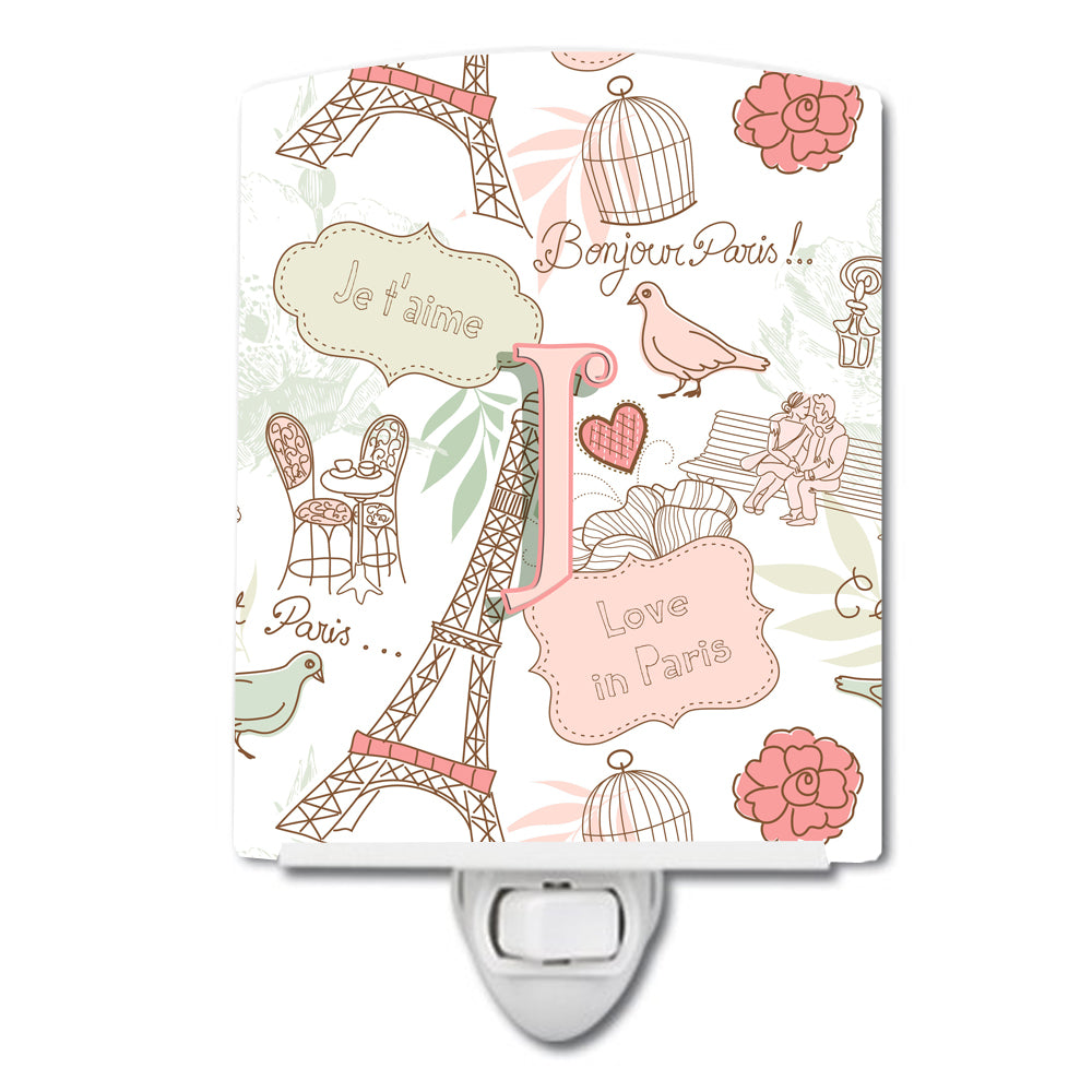 Letter J Love in Paris Pink Ceramic Night Light CJ2002-JCNL by Caroline's Treasures