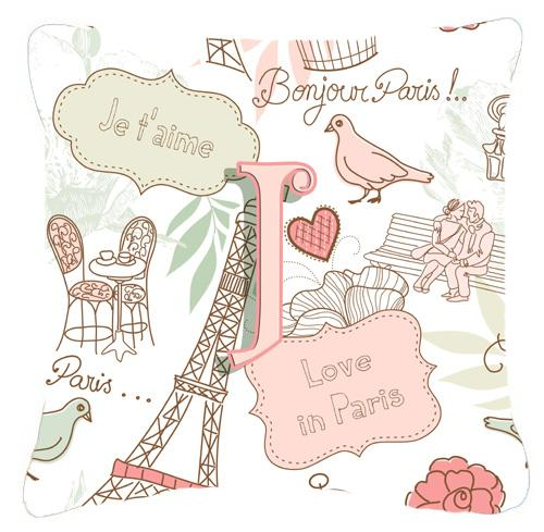 Letter J Love in Paris Pink Canvas Fabric Decorative Pillow by Caroline's Treasures