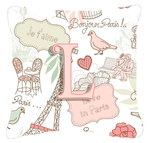 Letter L Love in Paris Pink Canvas Fabric Decorative Pillow by Caroline's Treasures