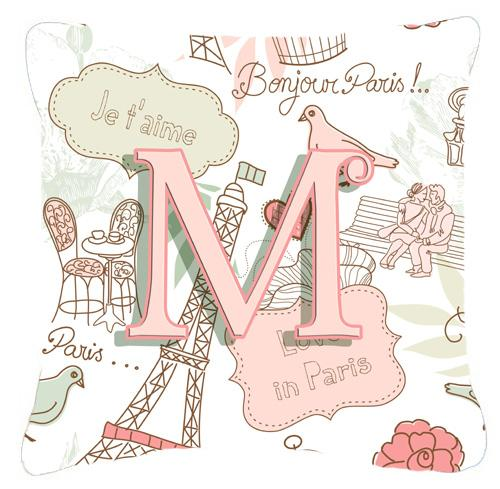 Letter M Love in Paris Pink Canvas Fabric Decorative Pillow by Caroline's Treasures