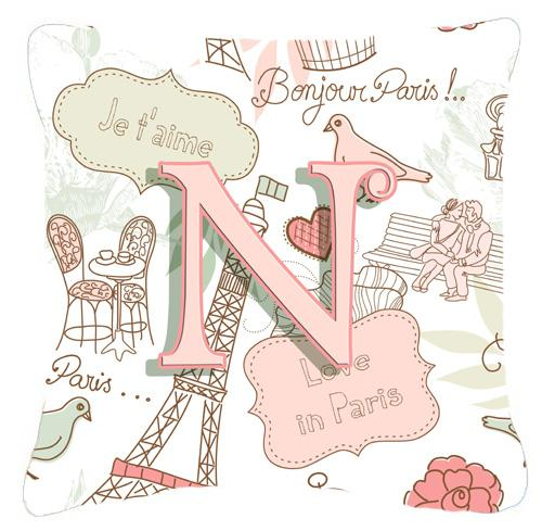 Letter N Love in Paris Pink Canvas Fabric Decorative Pillow by Caroline's Treasures