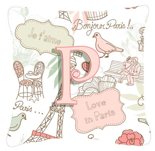Buy this Letter P Love in Paris Pink Canvas Fabric Decorative Pillow
