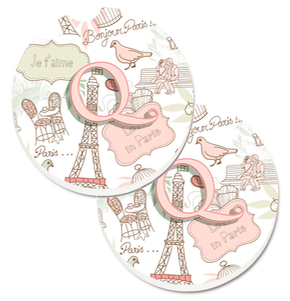 Letter Q Love in Paris Pink Set of 2 Cup Holder Car Coasters CJ2002-QCARC by Caroline's Treasures