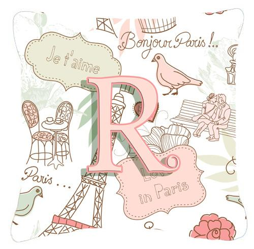 Buy this Letter R Love in Paris Pink Canvas Fabric Decorative Pillow