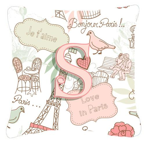 Buy this Letter S Love in Paris Pink Canvas Fabric Decorative Pillow