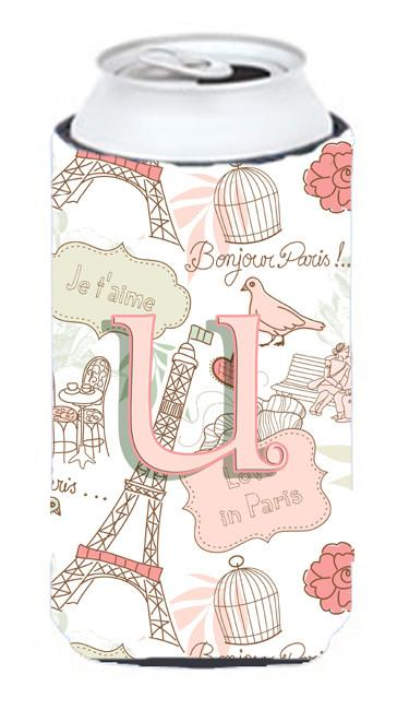 Letter U Love in Paris Pink Tall Boy Beverage Insulator Hugger CJ2002-UTBC by Caroline's Treasures