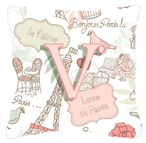 Buy this Letter V Love in Paris Pink Canvas Fabric Decorative Pillow