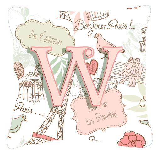 Letter W Love in Paris Pink Canvas Fabric Decorative Pillow by Caroline's Treasures