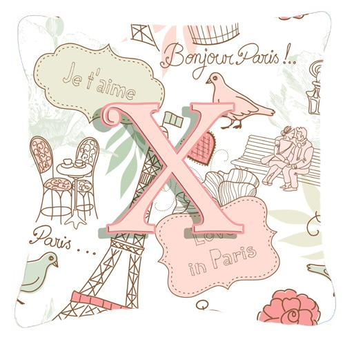 Buy this Letter X Love in Paris Pink Canvas Fabric Decorative Pillow