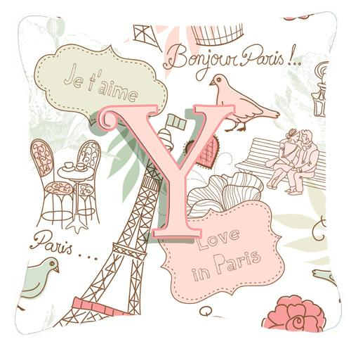 Buy this Letter Y Love in Paris Pink Canvas Fabric Decorative Pillow