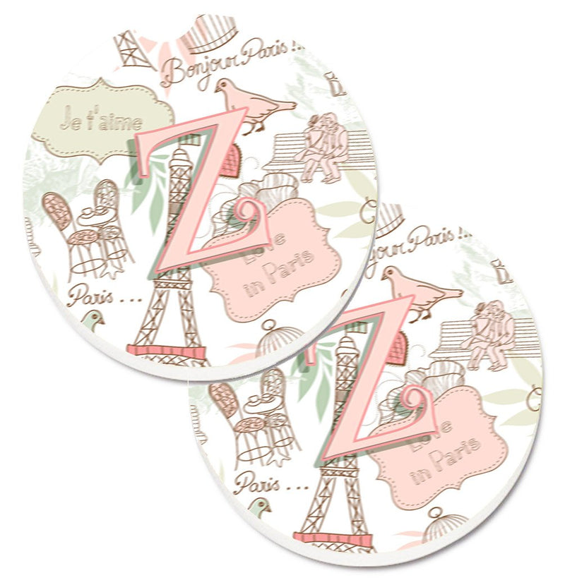 Buy this Letter Z Love in Paris Pink Set of 2 Cup Holder Car Coasters CJ2002-ZCARC
