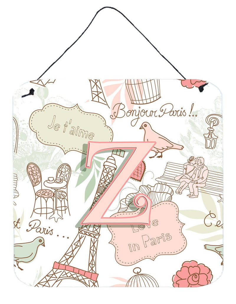 Buy this Letter Z Love in Paris Pink Wall or Door Hanging Prints CJ2002-ZDS66