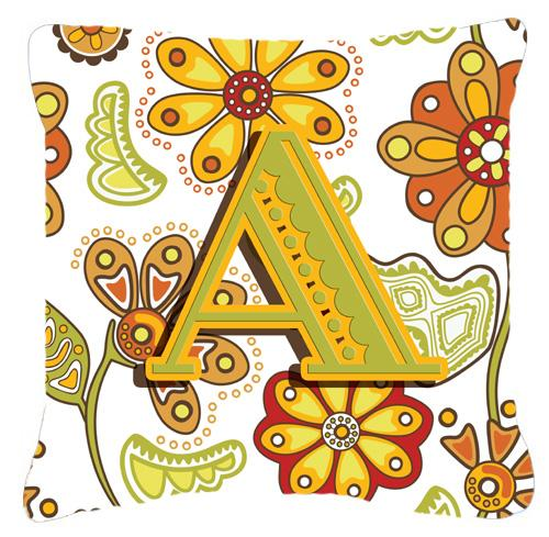 Buy this Letter A Floral Mustard and Green Canvas Fabric Decorative Pillow