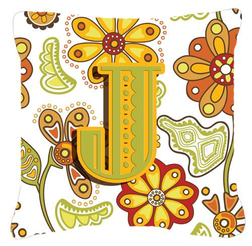 Letter J Floral Mustard and Green Canvas Fabric Decorative Pillow by Caroline's Treasures