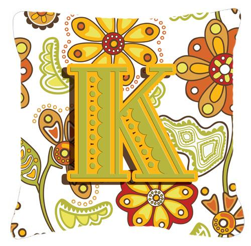 Buy this Letter K Floral Mustard and Green Canvas Fabric Decorative Pillow