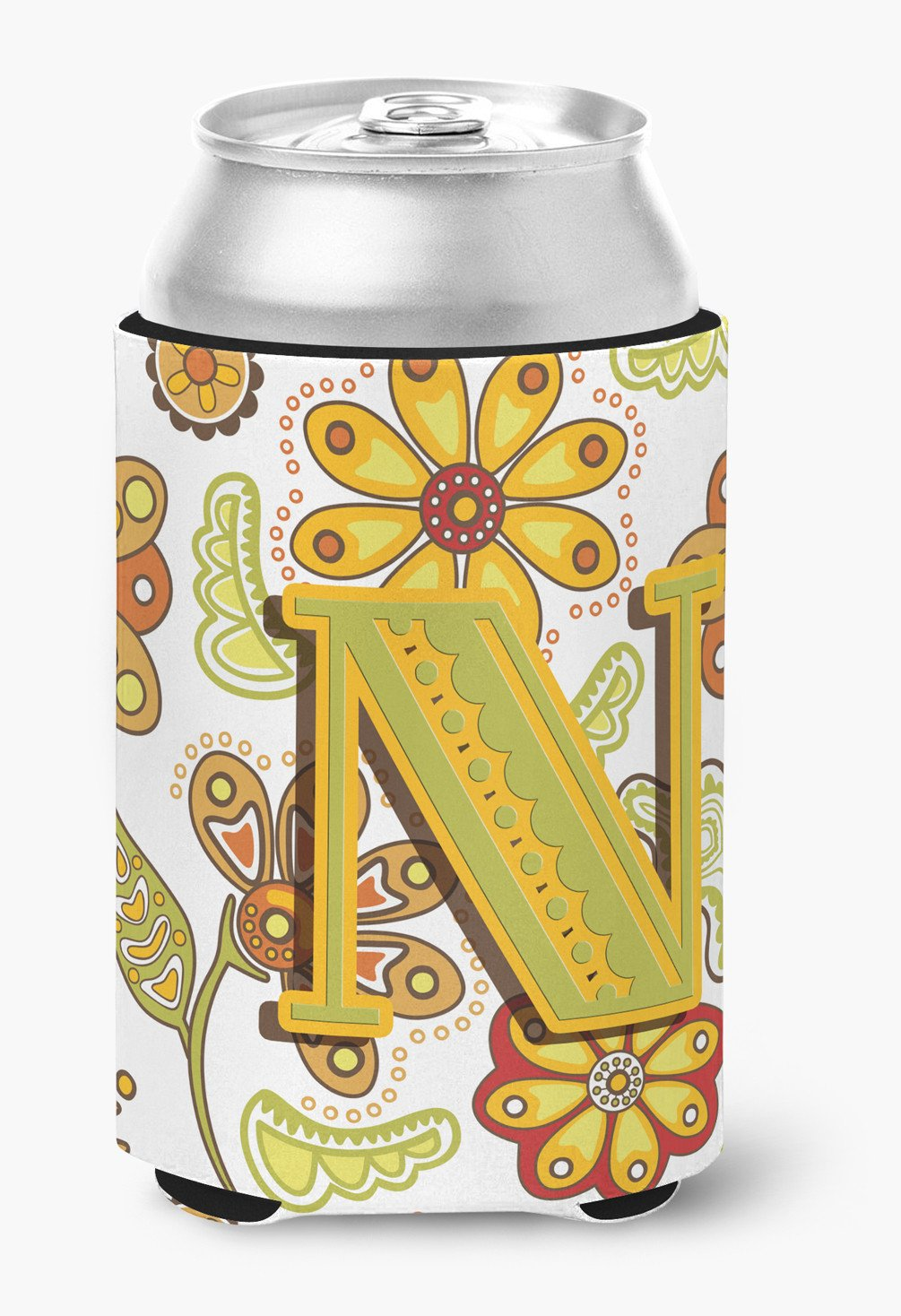 Letter N Floral Mustard and Green Can or Bottle Hugger CJ2003-NCC by Caroline's Treasures