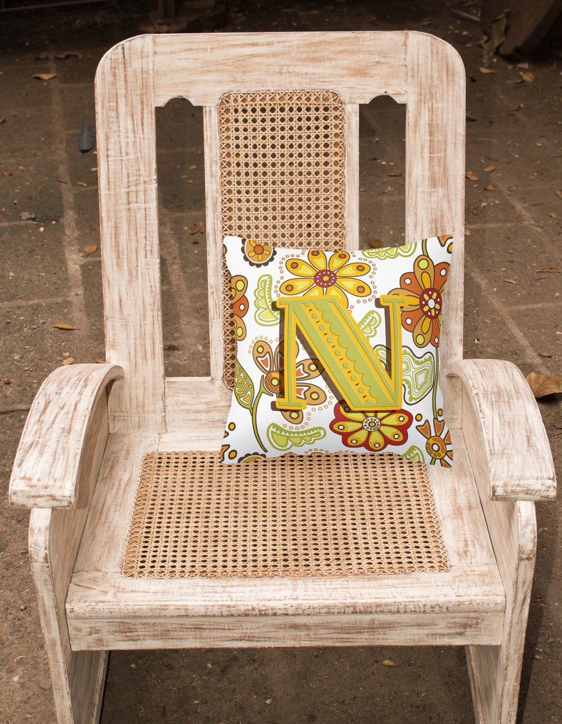Letter N Floral Mustard and Green Canvas Fabric Decorative Pillow CJ2003-NPW1414 by Caroline's Treasures