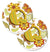Buy this Letter Q Floral Mustard and Green Set of 2 Cup Holder Car Coasters CJ2003-QCARC