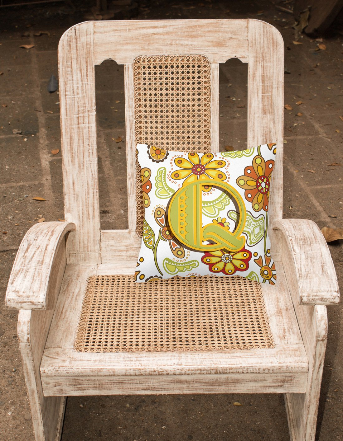 Buy this Letter Q Floral Mustard and Green Canvas Fabric Decorative Pillow CJ2003-QPW1414