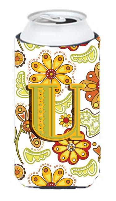 Buy this Letter U Floral Mustard and Green Tall Boy Beverage Insulator Hugger CJ2003-UTBC