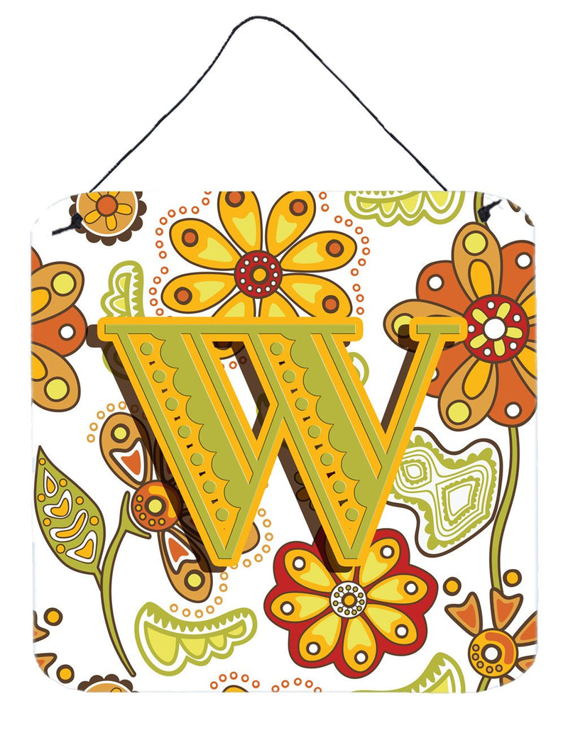Letter W Floral Mustard and Green Wall or Door Hanging Prints CJ2003-WDS66 by Caroline's Treasures