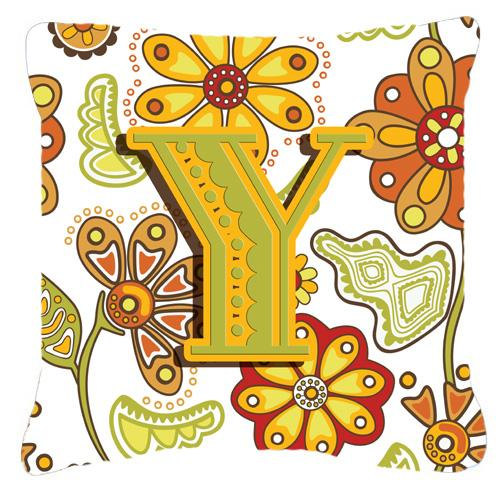 Buy this Letter Y Floral Mustard and Green Canvas Fabric Decorative Pillow