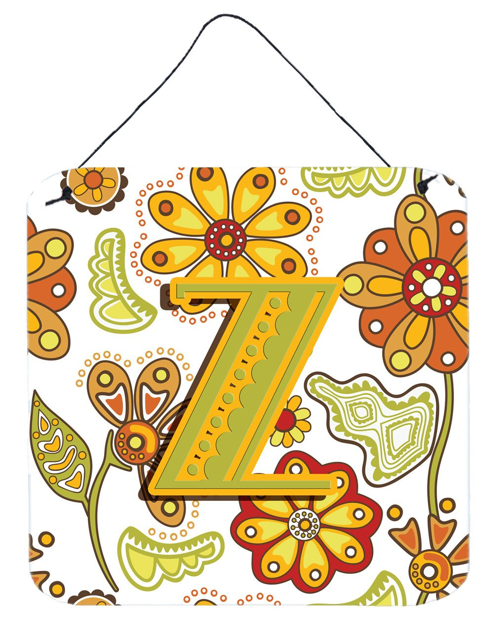 Letter Z Floral Mustard and Green Wall or Door Hanging Prints CJ2003-ZDS66 by Caroline's Treasures