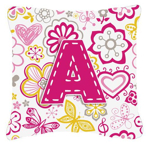 Buy this Letter A Flowers and Butterflies Pink Canvas Fabric Decorative Pillow
