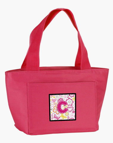 Buy this Letter C Flowers and Butterflies Pink Lunch Bag CJ2005-CPK-8808