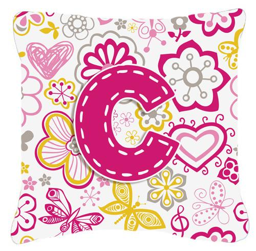 Letter C Flowers and Butterflies Pink Canvas Fabric Decorative Pillow by Caroline's Treasures