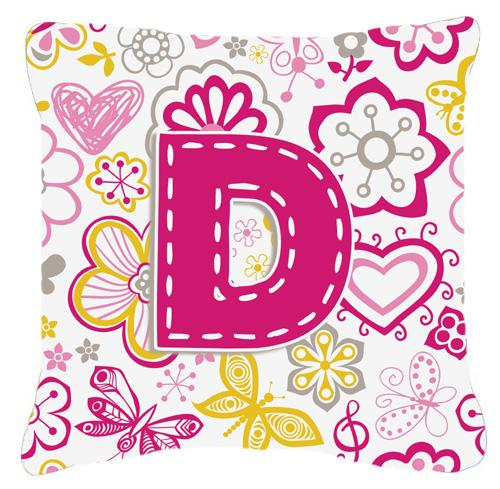 Letter D Flowers and Butterflies Pink Canvas Fabric Decorative Pillow by Caroline's Treasures