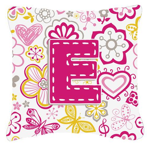 Buy this Letter E Flowers and Butterflies Pink Canvas Fabric Decorative Pillow