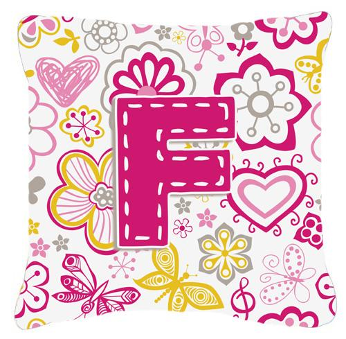 Letter F Flowers and Butterflies Pink Canvas Fabric Decorative Pillow by Caroline's Treasures