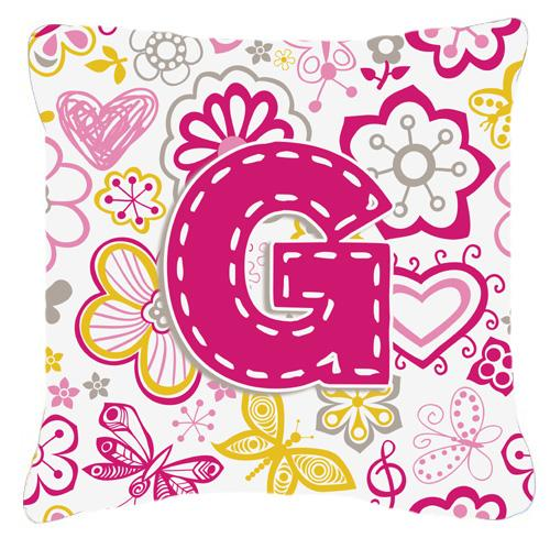 Buy this Letter G Flowers and Butterflies Pink Canvas Fabric Decorative Pillow