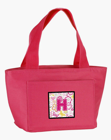 Buy this Letter H Flowers and Butterflies Pink Lunch Bag CJ2005-HPK-8808
