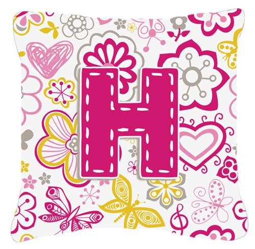 Buy this Letter H Flowers and Butterflies Pink Canvas Fabric Decorative Pillow