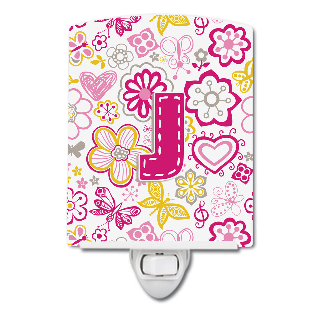 Letter J Flowers and Butterflies Pink Ceramic Night Light CJ2005-JCNL by Caroline's Treasures