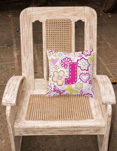 Letter J Flowers and Butterflies Pink Canvas Fabric Decorative Pillow CJ2005-JPW1414