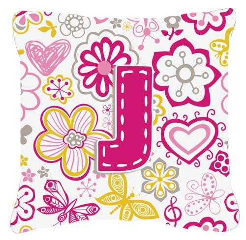 Letter J Flowers and Butterflies Pink Canvas Fabric Decorative Pillow by Caroline's Treasures
