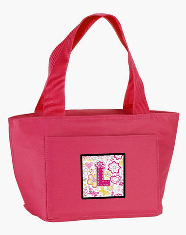 Buy this Letter L Flowers and Butterflies Pink Lunch Bag CJ2005-LPK-8808